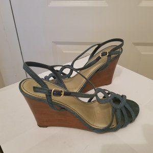 Kelly & Katie Denim blue Stringed wedge sandal